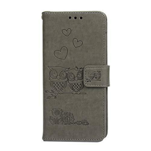 Samsung Galaxy A7 2018 hoesje, premium PU lederen schok-absorptie notitieboekje portemonnee hoesje reliëf uil met Kickstand functie kaartsleuf en magnetische sluiting Slim Flip beschermende huidhoes Grijs