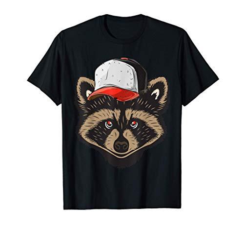 Raccoon Mapache con gorra de animales bonitos Camiseta