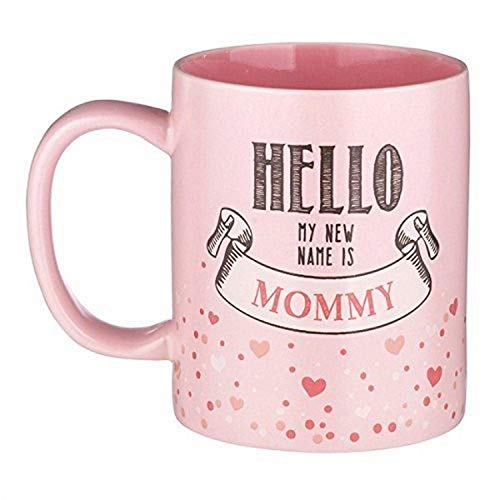 "Kelli's Shop 6"" 12-Ounce Mother Mug-Hello My New Name is Mommy-Pink Ceramic with Gift Box, Multicolor"