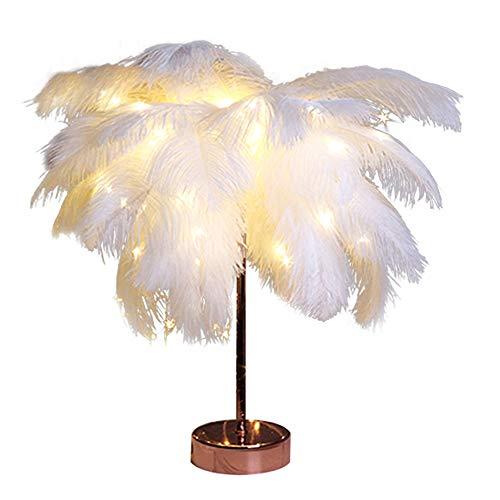 Haihuic Federn Tischlampe, Nachttischlampe mit weißer Feder, Retro Tischlampe, Schlafzimmer Wohnzimmer Moderne Lichter