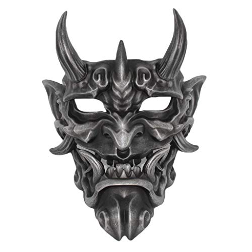 QWEASZER Japanese Red Hannya mask Halloween Horror devil Cosplay Mask Buddhism Prajna Ghost Traditional Theme Party Resin Mask Art craft Crafts Hanging ornament,Black-Hannya