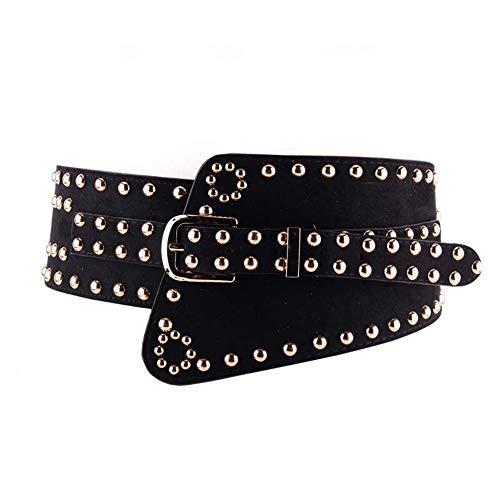 Cinturón de Cuero con Tachuelas Cinturón de Punk Cinturón de Cuero Genuino Cinturón de Cuero Cinturón Regalos de Mujer Cinturón de Cuero con Hebilla (Color : Negro, tamaño : Free Size)