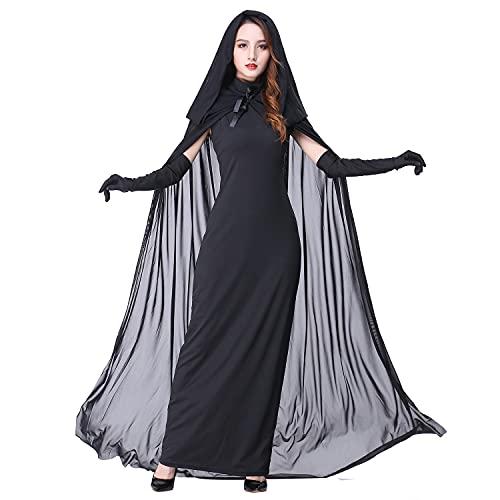 Myir Halloween Kostüm Damen Geister Schwarze Geisterbraut böse Königin, Karneval Ausführen Kostüme Erwachsene Vampir Lange Kleid Horror (Schwarz, Medium)