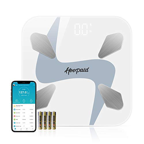 Hoepaid Body Fat Scale,Smart BMI Digital Scale Bluetooth Wireless Bathroom Scale 17 Kinds of Body Composition Analyzer with Smartphone APP Sync-White