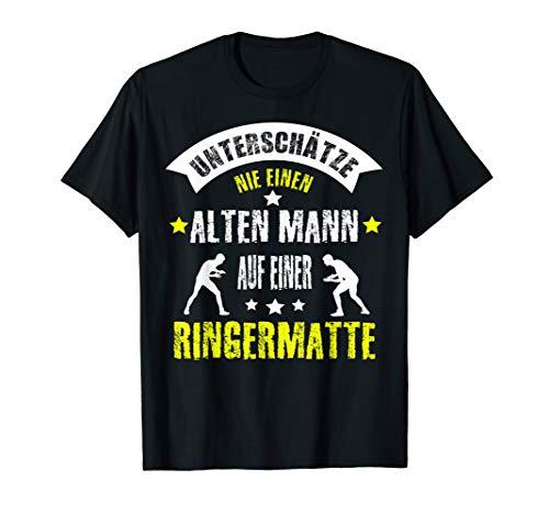 Herren Ringer Spruch Ringen Motiv Ringermatte Geschenkidee T-Shirt