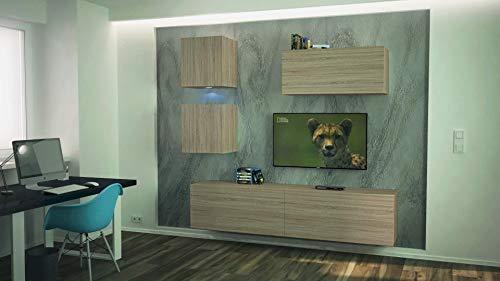 Home Direct Mediawand Schrank Wohnschrank Schrankwand Wohnwand Modernes Wohnzimmer TV Möbel mit LED Beleuchtung Como NX269 (AN269-17S-M26 1B (207cm), Möbel ohne Led)