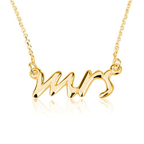 Moda Delicada Sra. Collar Tiny Love Alphabet Letter Collares Collares con Iniciales de Palabras Simples para Regalo de Boda, Color Dorado