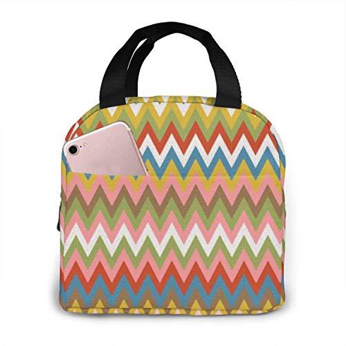 ZYWL ~ Bolsas de almuerzo aisladas con diseño de zigzag geométrico colorido y moderno para mujeres, niñas, bolsas organizadoras más frescas, loncheras impermeables reutilizables para picnic de trabajo