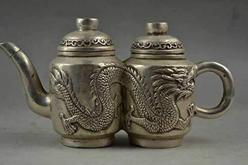 BENGKUI Escultura,Chino Tibetano Plata Tallada A Mano Par Realista Dragón Raro Té Noble Olla Agua Olla Vino Decoración Estatua