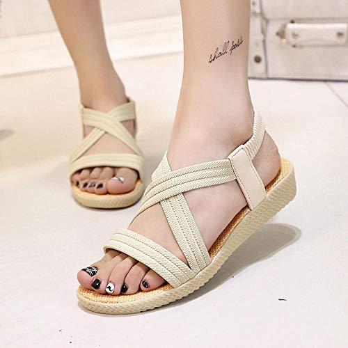 Sandalias De Mujer, Zapatos Planos De Verano para Mujer, Sandalias De Tiras Ocasionales para Mujer, Zapatos Abiertos De Punta Abierta-Bg_8.5