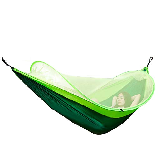 HUANXI LightweightDoubleHammock Garden with Storage Bag + Strap,300kg Load Capacity (260x150cm) Green Pop Up Tents For Adults for Camping