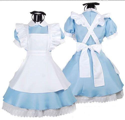 『不思議の国のアリス風 メイド服 コスプレ衣装 カチューシャ + ハイニーソックス 付き AA01』のトップ画像