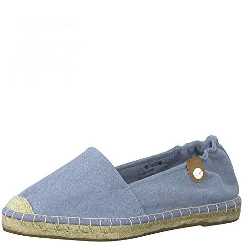 Tamaris Damen 1-1-24605-26 Flacher Slipper, Espadrille, lt.denim jeans, 41 EU