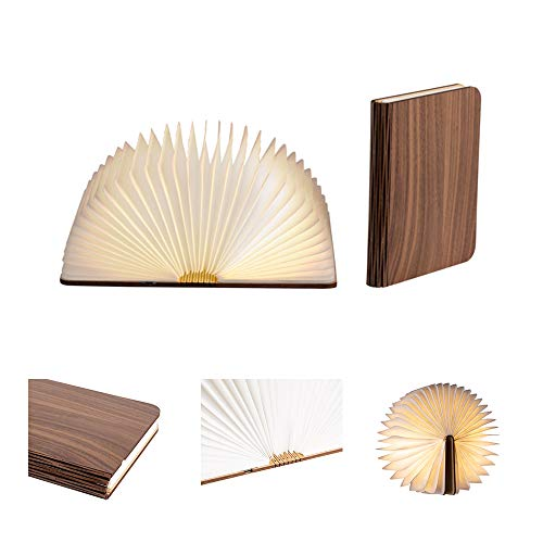 LEDR® - Buchlampe Book Lamp LED Buch Lampe Nachttischlampe Nachtlicht dekoratives Licht - USB Kabel enthalten - Wasserdicht - 100% DuPont™ Tyvek® Recyclingpapier (Walnussbraun: 16 x 12 cm)