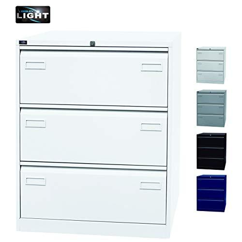 BISLEY Hängeregistraturschrank Light in weiß - Hängeregistratur Schrank aus Metall für Hängeregister & Hängemappen | Hängeregisterschrank 3 Schübe zweibahnig | 5 Farben