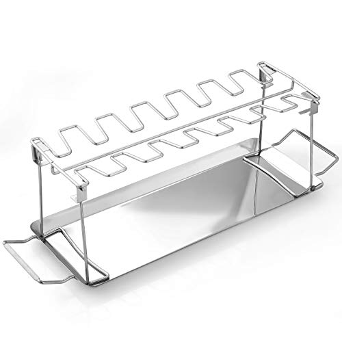 Chicken Leg Wing Rack 14 Slots Stainless Steel Metal Roaster Stand