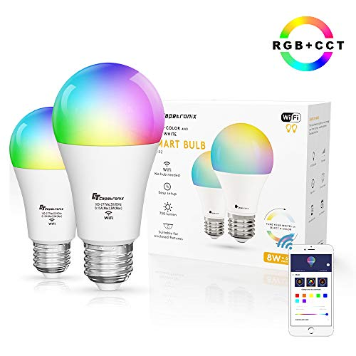 CT Capetronix Smart WiFi LED Light Bulb - A19 E26 RGB+CCT Multicolor Dimmable 2700K-7000K Light Bulbs Compatible with Alexa Echo Google Home Siri (No Hub Required), 8W (60W Equivalent), 2 Pack