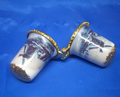 Dé à coudre en porcelaine de Chine à collectionner Bleu de Delft