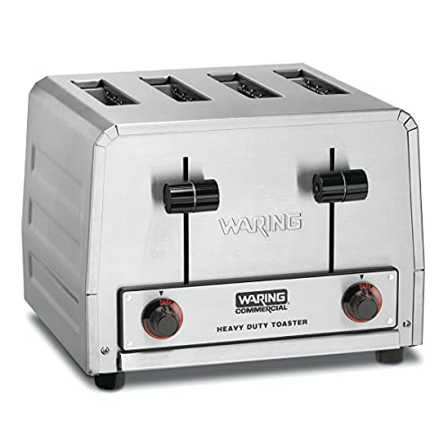 Waring Commercial WCT800RC 4-Slice Heavy Duty Commercial Pop-Up Toaster, 120V, 1800W, 5-15 Phase...