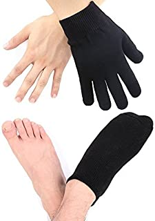 Codream Cotton Men's Gel Moisturizing Gloves and Socks Instantly Repair Eczema Dry Rough and Cracked Hands and Feet Gel Lining with Essential Oils and Vitamins Black