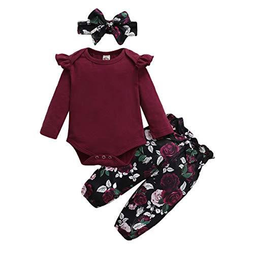 SANMIO 3tlg Babykleidung Set Baby Mädchen Langarm Romper + Floral Hose + Stirnband Neugeborene Kleinkinder Outfit Kleidung 0-24 Monate