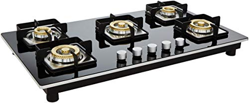 Faber Stainless Steel 5 Burner Gas Stove, Black
