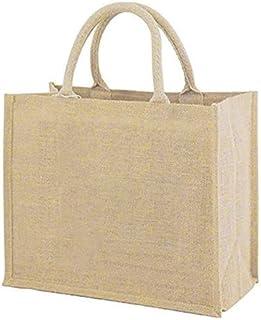MarriedMan Pu Coating Reusable Jute Shopping Bag Beach Blonde Handbags Canvas Tote Bags For Women Grocery Bag Large
