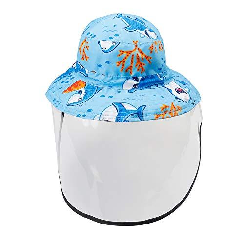 Happy Cherry - Niño Sombrero de Protector Facial con ala Verano para Anti-Saliva Anti-UV Infantil Gorro de Pescador de Sol con Cubierta Transparente Desmontable Bucket Hat para Bebé Niña - 1-2 Años