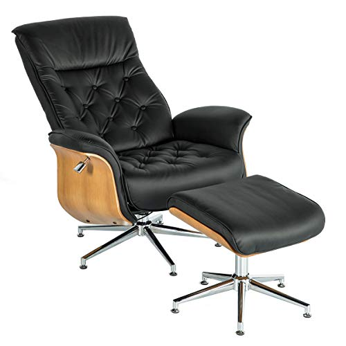 Mellcom Lounge Chair Mid Century PU Leather Chaise Lounge with Ottoman Set,Adjustable Backrest Armchair & Foot Stool for Living Room,Office Chair,Home