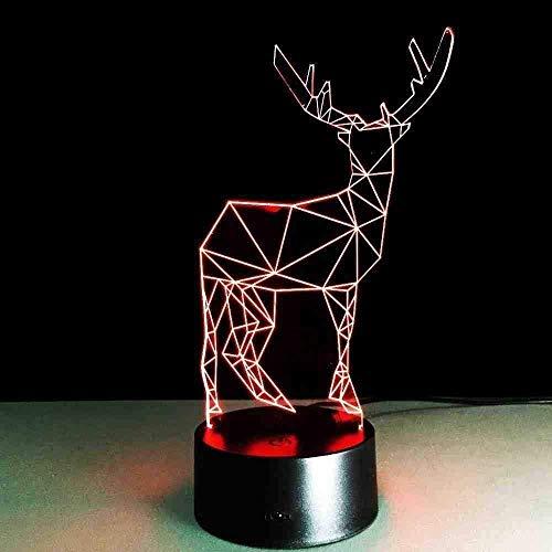 BTEVX Deer 3D Long Horned Lamp Weihnachts Nachtlicht Gadget Led Beleuchtung Schlafzimmer Büro Home Cafe Beleuchtung Kind Geschenk