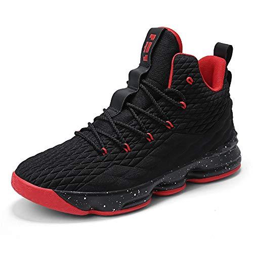 Zapatos Hombre Deporte de Baloncesto Sneakers de Malla para Correr Zapatillas Antideslizantes Negro Rojo Champán Verde Brillante 36-46 Negro Rojo 43