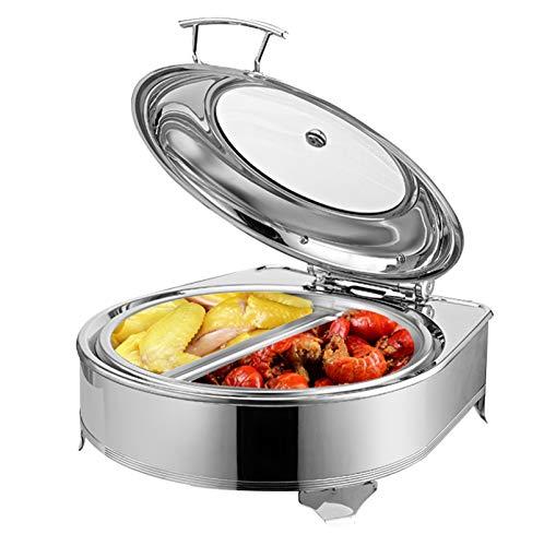 HNFDU Chauffe-Plat Electrique, Chafing Dish en Acier Inoxydable 6L, Buffets Chauffants Bain Marie Idéal pour Le Dîner de Banquet de Partie de Cuisine, 42x40x22cm