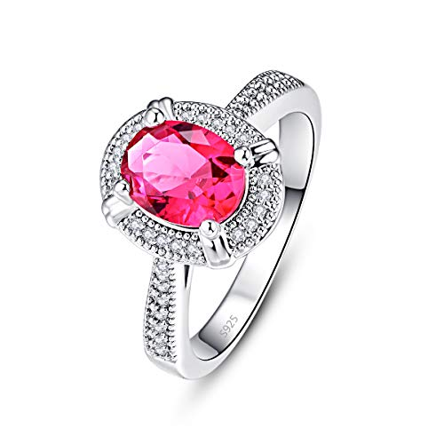 PAKULA 925 Sterling Silver Women Oval Cut Simulated Ruby Halo Engagement Ring Size 7