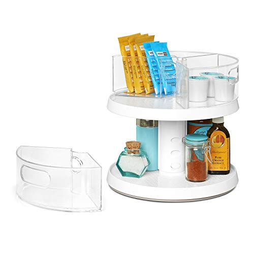 YouCopia 2-Tier Height Adjustable Crazy Susan Kitchen Cabinet Turntable and Spice Organizer w/Bins, One Size