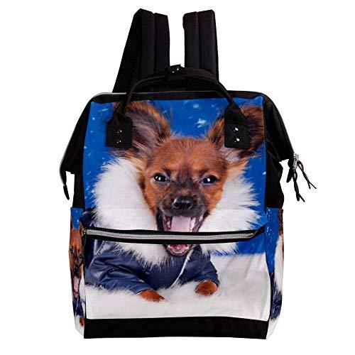 Hundewinter-Chihuahua-Uniform-Tiere Wickeltasche Rucksack, Wickeltasche Wickelrucksack Wickeltaschen für die Babypflege Langlebig, stilvoll, große Kapazität für Mama und Papa