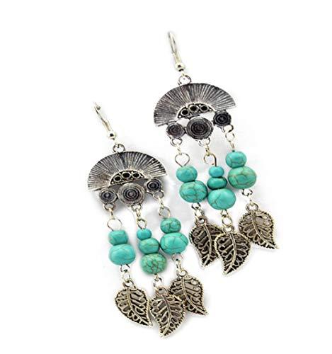 Pendientes de borlas pendientes de hojas de turquesa retro pendientes exagerados pendientes mujeres