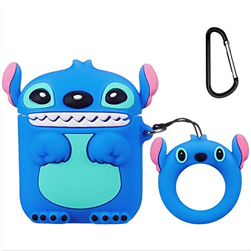 Leosimp for Airpods 1/2 Case,3D Lindo Cute Caricatura Cartoon Animal Moda Silicona Funda Airpod De Protección Protective Llavero Funda Air pods Caso para Chica Niño Juventud(3D Blue Stitch)