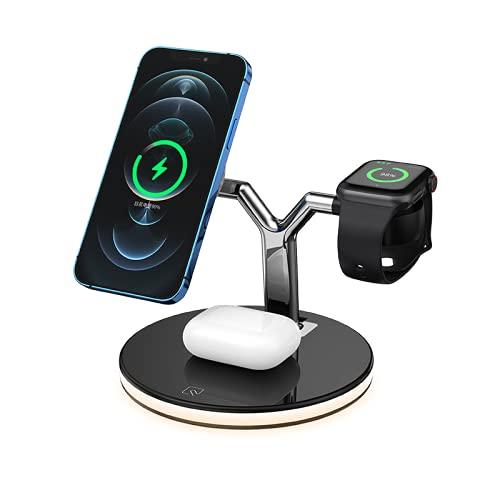 Cargador inalámbrico, lámpara de cabecera,soporte de cargador inalámbrico magnético 3 en 1 Estación de carga rápida de 15 W, adecuado para cargador MagSafe/serie iphone12/AirPods Pro/serie Apple Watch
