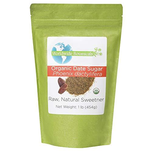 Worldwide Botanicals Organic Date Sugar - 100% Pure Dried Dates, Natural Whole Food Sweetener, Gluten-Free, Granular, 1 Pound