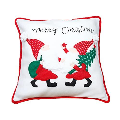 INIFLM Juego de 4 fundas de almohada navideñas, adornos de Navidad, bordado, forestal, sofá, funda de almohada, funda de almohada de Navidad (sin almohada)