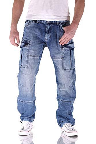 Big Seven Brian Medium Blue Cargo Herren Jeans, Hosengröße:W40/L36