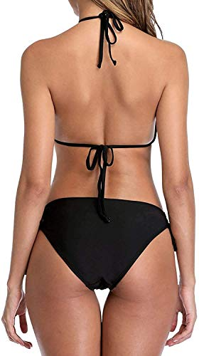 Jaanshi Women's Poly Lycra 2 Piece Halter Swimsuits Keyhole Cutout Swimwear Bikini Set (Black, Free Size )