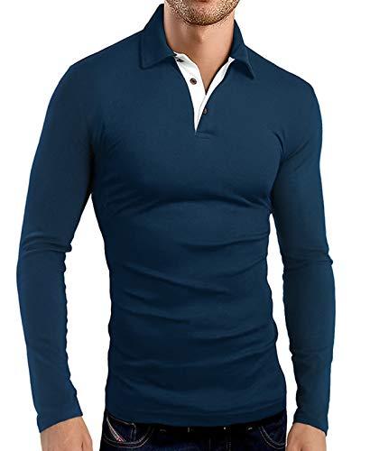 KUYIGO Mens Long Sleeve Casual Slim Fit Polo T-Shirts Basic Designed with Cotton Shirts Medium Navy