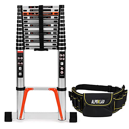 ALPURLAD Telescoping Ladder 16.5 FT Lightweight Aluminum Extension Ladder with Stable Support Easy Retraction Anti-Slip Collapsible Ladder for Home Roof Multi-Purpose Ladder 330lbs Capacity