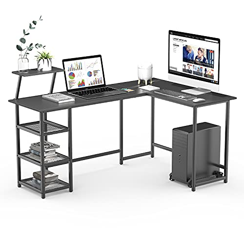 Naspaluro Scrivania a forma di L, grande scrivania per computer a 2 strati Scrivania ad angolo in legno con supporto per CPU, tavolo per PC portatile Tavolo da gioco per studio Workstation