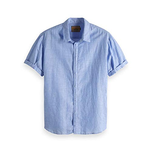 Scotch & Soda Herren Kurzarmhemd Classic Shortsleeve Shirt 148899 Blue L