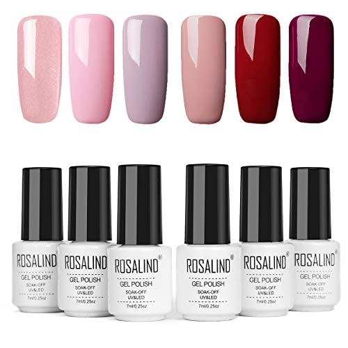 ROSALIND Gel Nagellack UV Nudefarben Set Rosa Rot,Gel Nail Polish für Nagel-Design 6pcs 7ml,Schellack Nagellack Starterset