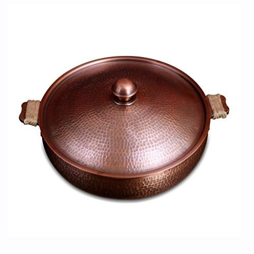 Hot Pot Kupfer Chinese Deckel Bequemer Heiz Induktionsherd Multifunktionaler Suppentopf Fondue-Zubehör (Color : A, Size : 30 * 30cm)