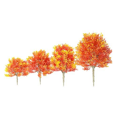 OVBBESS - 4 piante di acero in plastica artificiale, modello in miniatura, per paesaggi, piante da giardino