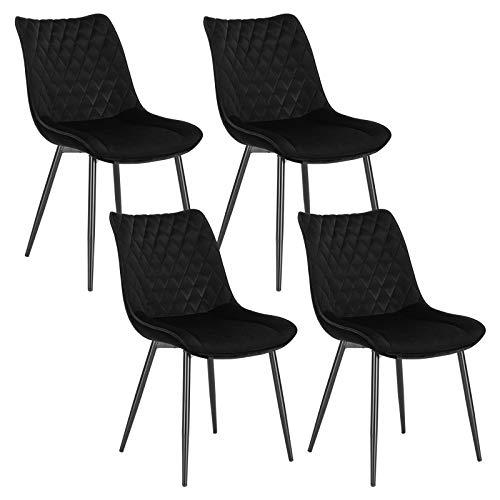 WOLTU 4 x Esszimmerstühle 4er Set Esszimmerstuhl Küchenstuhl Polsterstuhl Design Stuhl mit Rückenlehne, mit Sitzfläche aus Samt, Gestell aus Metall, Schwarz, BH209sz-4
